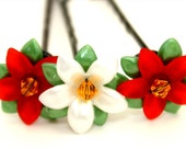 Red and White Poinsettia Lucite Flower Swarovski Crystal Bobby Pins For Christmas