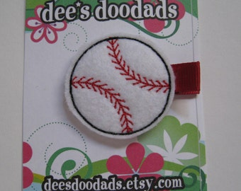 Baseball Felt Embroidered Hair Clip