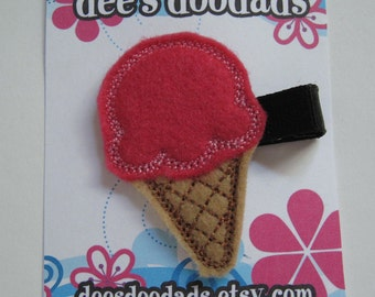 Hot Pink Ice Cream Come Felt Embroidered Hair Clip