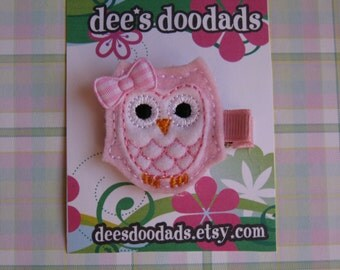 Lt Pink & White Two Toned Ollie the Owl Hair Clip