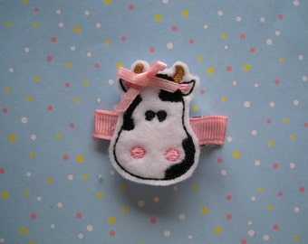 Bessie the Cow Felt Embroidered Hair Clip