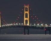 Michigans Mackinac Bridge at night 12 x 36 or 8 x 24 print mounted on 3/16 matboard