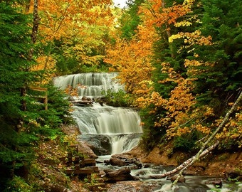 Michigan's Sable Falls waterfall in autumn colors large 16x20 print