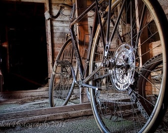 Old Schwinn Super Sport in barn cycling bicycle classic print