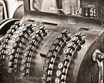Old cash register in an old time general store original print sepia