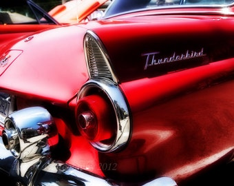 Classic red T Bird rear tailight vintage Detroit classic red Ford Thunderbird  color print