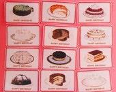 Vintage Happy Birthday Cake  Edible Image Wafer Papers 1 DOZEN