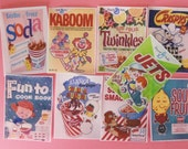 Vintage Candy and Cereal Kitschy edible image wafer paper for cupcake toppers, cookies, fondant and chocolates