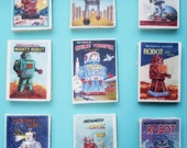 9 Vintage Robot Edible Image Wafer Paper for your cookies, fondant cake toppers, or chocolate bars