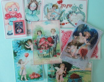 Vintage Valentine Children Edible Image Wafer Paper for cookies, fondant and cupcake toppers