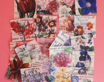 """French Floral Wafer Paper Edible Images 2"""" Square for cookies, cupcakes, chocolates"""