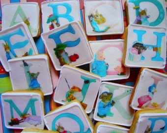 Beatrix Potter ABC Alphabet  baby animal edible image wafer papers for your iced cookies, fondant cupcake toppers, chocolate and cakes