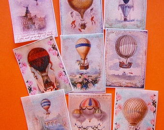 Vintage Hot Air Balloon Poster Edible Image wafer papers for your iced cookies, cakes, fondant and chocolates