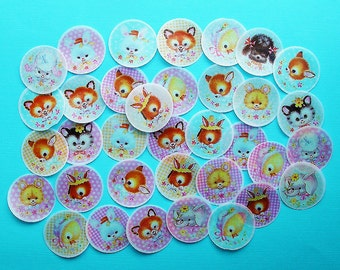 Gingham Baby Animal Face Wafer Paper Edible Images for your iced cookies, fondant cupcake toppers, chocolates or cake