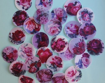 """Beautiful, Romantic Old Fashioned 1.5"""" round Rose edible image wafer paper for your iced cookies, chocolates or cupcakes"""