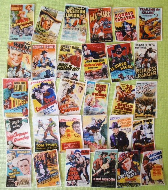 Vintage Spaghetti Western Cowboy Movie edible image wafer papers for cookies, cupcake toppers, fondant and chocolates