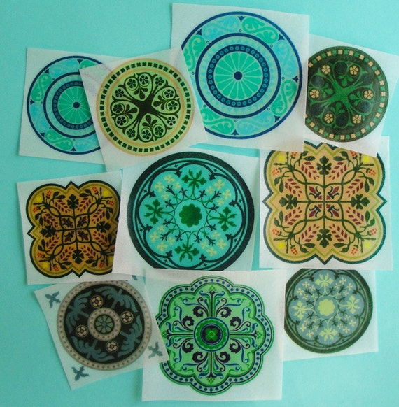 Exotic Moroccan Tile Medallion Blue Green Edible Image Wafer Paper for your cookies, cupcakes, cakes and chocolates