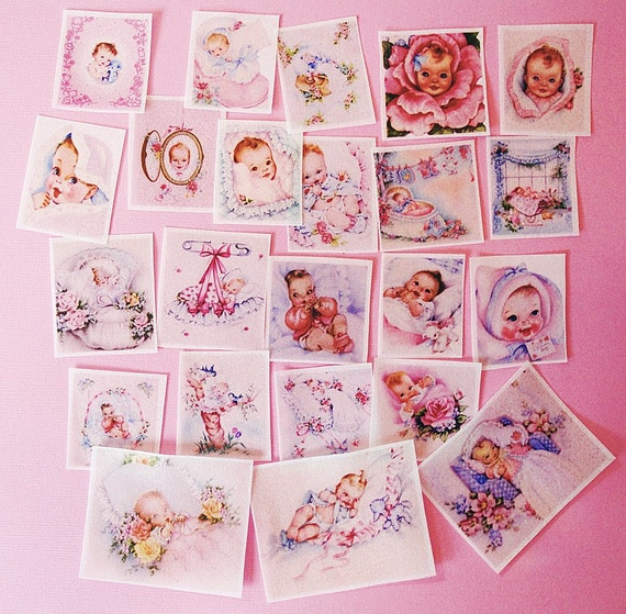 Baby Shower 20 assorted edible image wafer papers for your iced cookies, fondant, cupcake toppers, chocolate or cakes