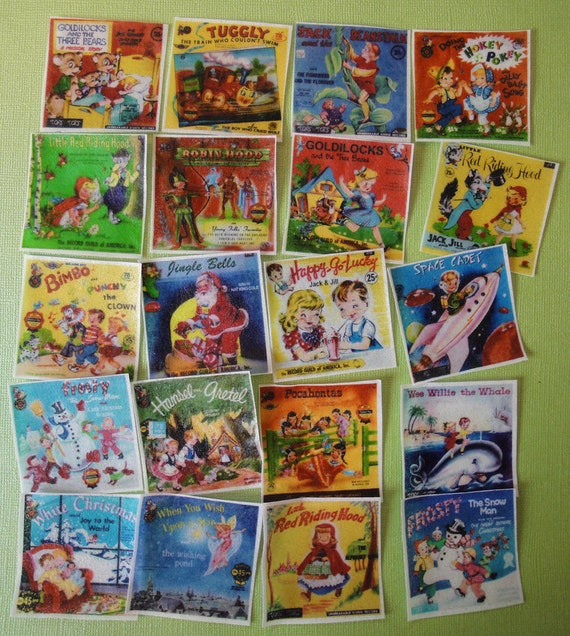 Children's Retro Record and Book edible image wafers for your iced cookies, fondant, cupcakes and chocolates