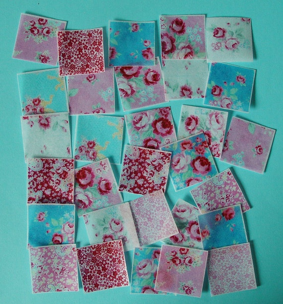 30 Shabby Chic Roses edible image wafer papers for your iced cookies, fondant, chocolates, cupcakes and cakes