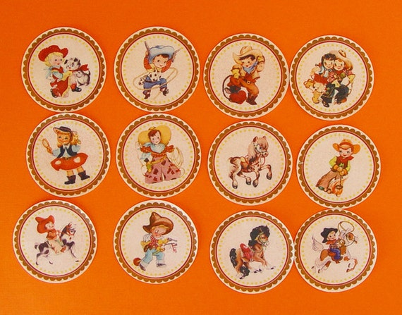 Cowboys and Cowgirls Edible Image wafer papers for cookies, cupcakes, cakes and chocolate