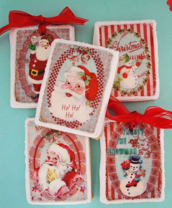 Vintage Christmas Edible Image Wafer Papers for your iced cookies, fondant, chocolates and cake