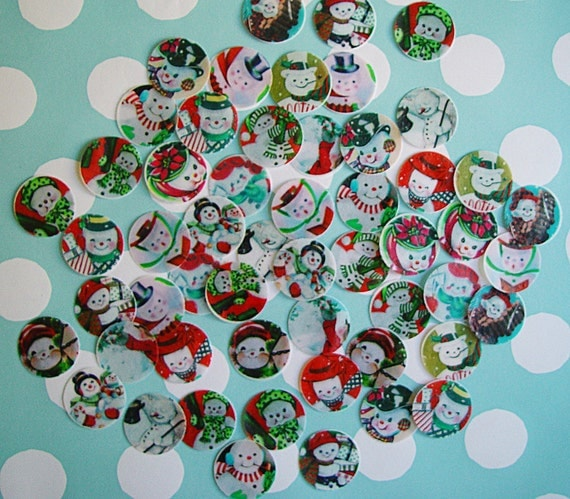"1"" Snowman Edible Image Wafer Papers - approximately 70 wafer circles"