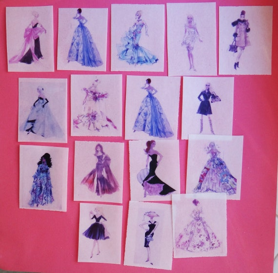 16 Vintage Barbie Fashion Illustration edible image wafer papers for your iced cookies, cake, chocolates