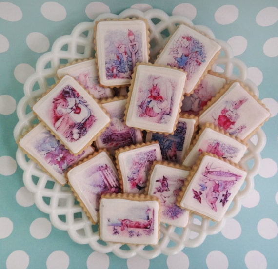 20 Peter Rabbit Beatrix Potter illustrations on Edible Image Wafer paper for your cookies, cupcakes, cakes, fondant and chocolates