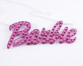 "Pink Swarovski crystal Barbie necklace 3"""