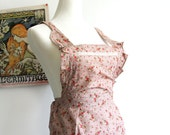 Baking Queen  - Vintage Inspired Cottage Chic Taupe Brown Full Length Floral Apron