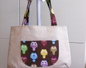 Large Bag Cream Color Big Exterior Pocket Double Shoulder Straps Colorful Owl OOAK (BG29)