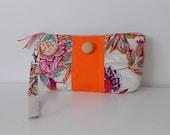 Zipper Gathered Wristlet Detachable Strap Orange Blooming Flower Retro Print (WL22)
