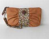 Zipper Gathered Wristlet Detachable Strap Walnut Brown Tiny Floral Print (WL24)
