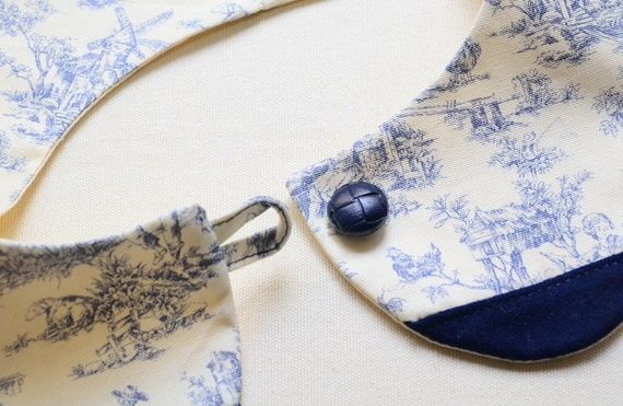 peterpan collar - dutch prints - Navy, cream and royal blue