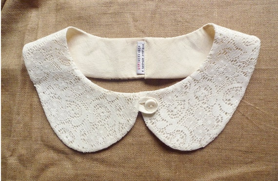 peterpan collar - summer collar - lace on cream - multiple cut