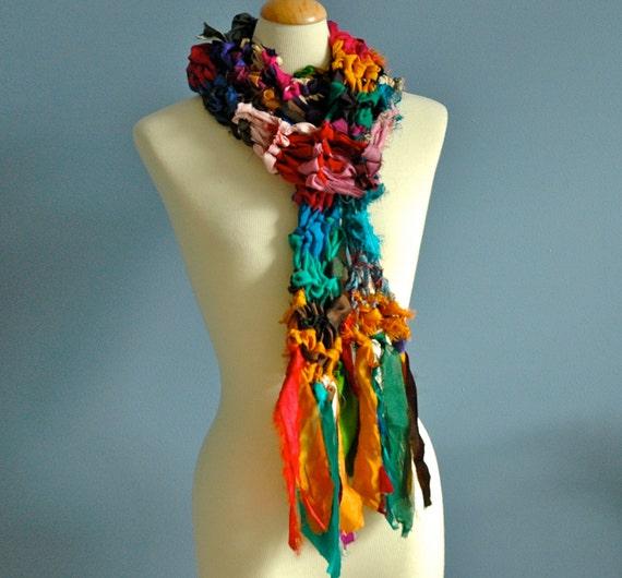 Gypsy. Recycled Sari Silk Ribbon Scarf
