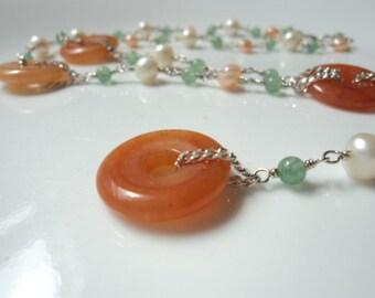 Red aventurine, fresh water and green aventurine gemstone y-necklace.