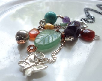 Gemstone charms pendant, oxidized sterling silver necklace.