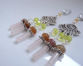 Silver chandelier long gemstone earrings.