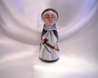 Saint Catherine of Siena - Catholic Saint Wooden Peg Doll Toy - made to order