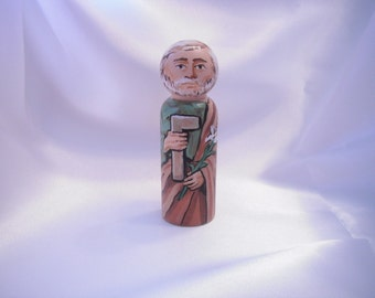 St. Joseph The Worker - Catholic Saint Wooden Peg Doll Toy - made to order