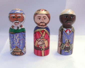 Magi Set for Storybook Nativity, Wooden Dolls - made to order