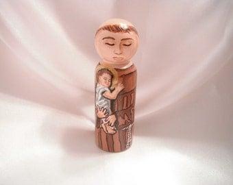 Saint Anthony of Padua - Catholic Saint Wooden Peg Doll Toy - made to order