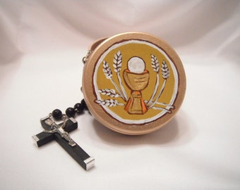 Holy Eucharist Rosary Box - Catholic Child Gift - made to order