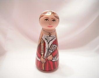 Saint Margaret of Scotland - Catholic Saint Wooden Peg Doll Toy - made to order