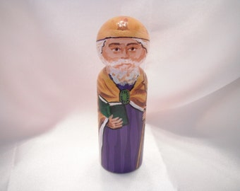 Saint Augustin of Hippo - Catholic Saint Wooden Peg Doll Toy - made to order