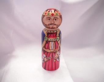 Saint Edward the Confessor - Catholic Saint Wooden Peg Doll Toy -  made to order