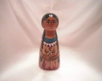 Saint Kateri Tekakwitha - Catholic Saint Wooden Peg Doll Toy - made to order