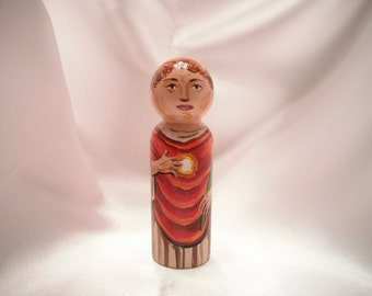 Saint Tarcisius - Catholic Saint Wooden Peg Doll Toy -  made to order